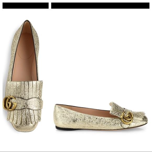 654e59cdae43d Gucci Shoes | Marmont Kiltie Loafers Sz 37 Gold Metallic | Poshmark
